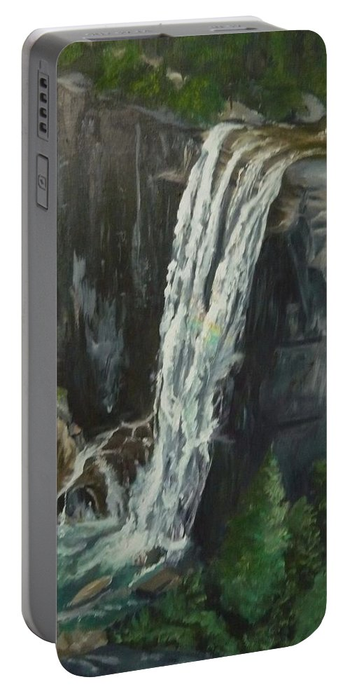Vernal Falls Portable Battery Charger featuring the painting Vernal by Travis Day