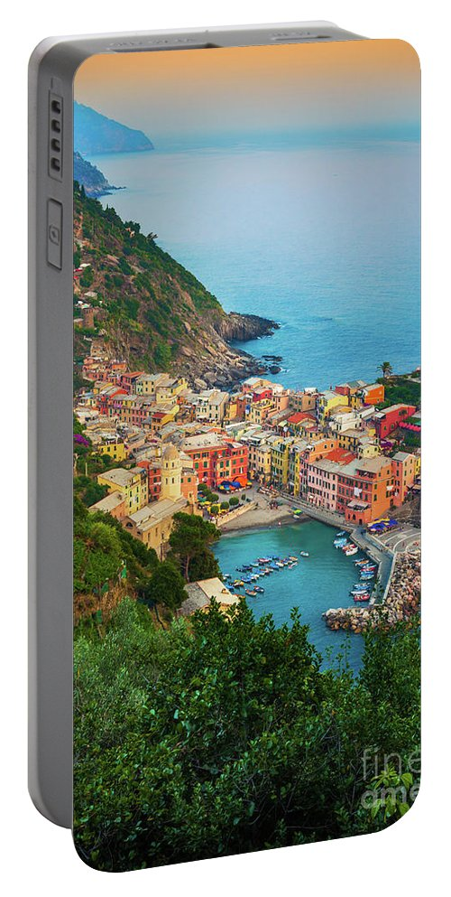 Cinque Terre Portable Battery Charger featuring the photograph Vernazza From Above by Inge Johnsson