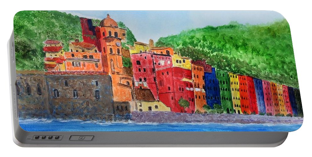 Vernazza Portable Battery Charger featuring the painting Vernazza Italy by Anne Sands