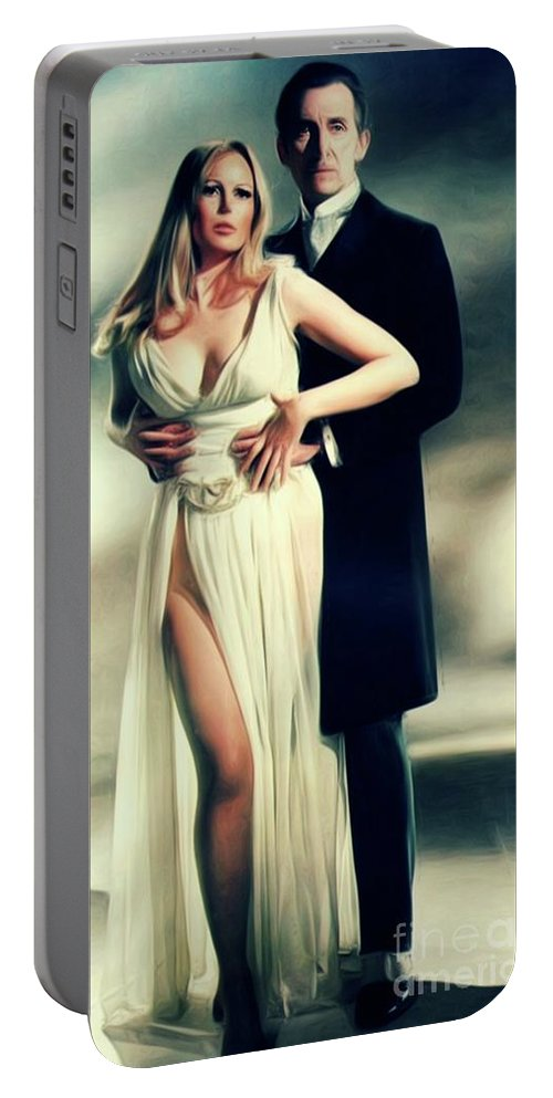 Veronica Portable Battery Charger featuring the digital art Veronica Carlson And Peter Cushing by Mary Bassett