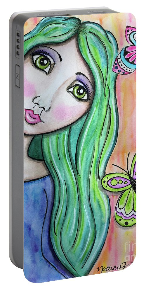 Whimsical Character Portable Battery Charger featuring the painting Hazel by Nadine Larder