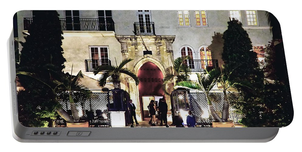 Versace Portable Battery Charger featuring the photograph Versace Mansion South Beach by Gary Dean Mercer Clark