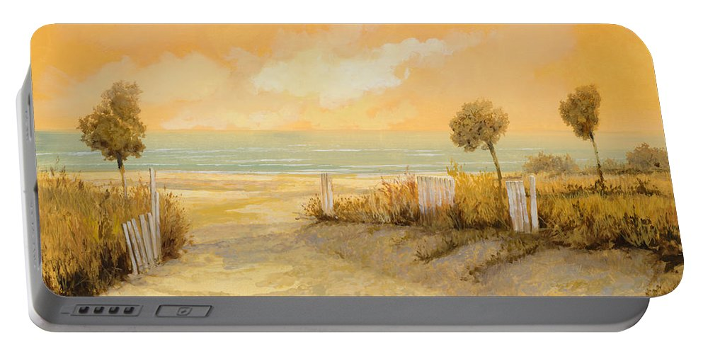 Beach Portable Battery Charger featuring the painting Verso La Spiaggia by Guido Borelli