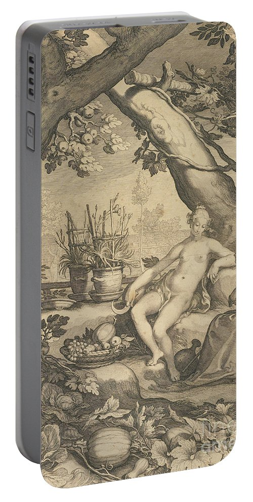 Garden Portable Battery Charger featuring the drawing Vertumnus And Pomona by Pieter Jansz Saenredam