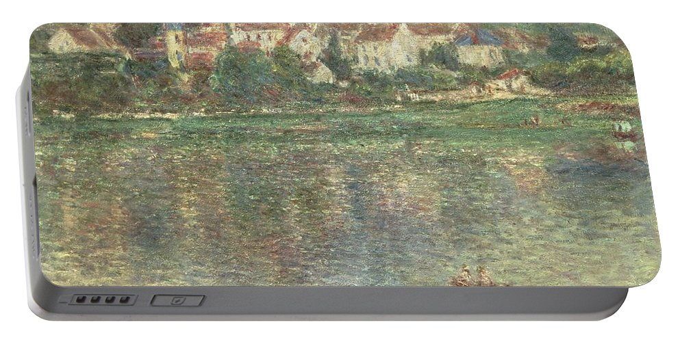 Monet Portable Battery Charger featuring the painting Vetheuil by Claude Monet