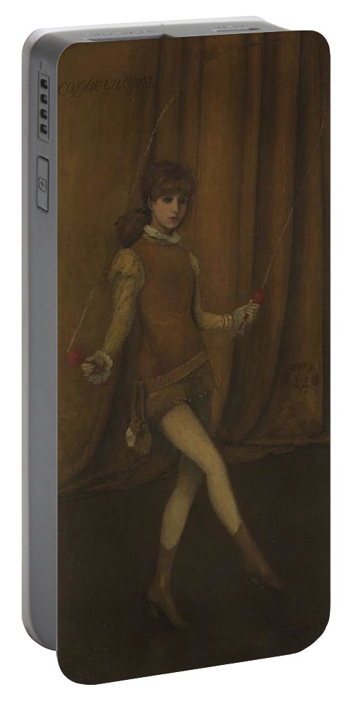 Beautiful Portable Battery Charger featuring the painting vHarmony in Yellow and Gold The Gold Girl  Connie Gilchrist James McNeill Whistler by Artistic Panda