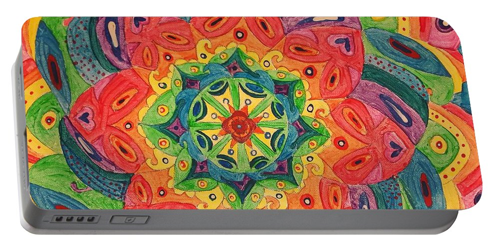 Abstract Portable Battery Charger featuring the painting Vibe by Tasha Ramirez