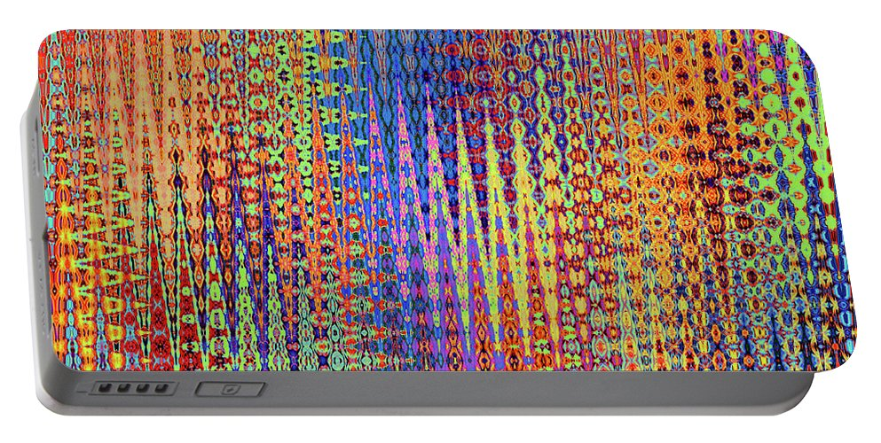 Forest Portable Battery Charger featuring the digital art Vibrant Christmastree Forest by Ann Johndro-Collins