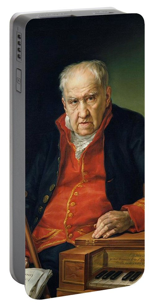 Man Portable Battery Charger featuring the painting Vicente Portaia Lopez Felix Maximo Lopez First Organist Of The Royal Chapel 1820 by Artistic Panda