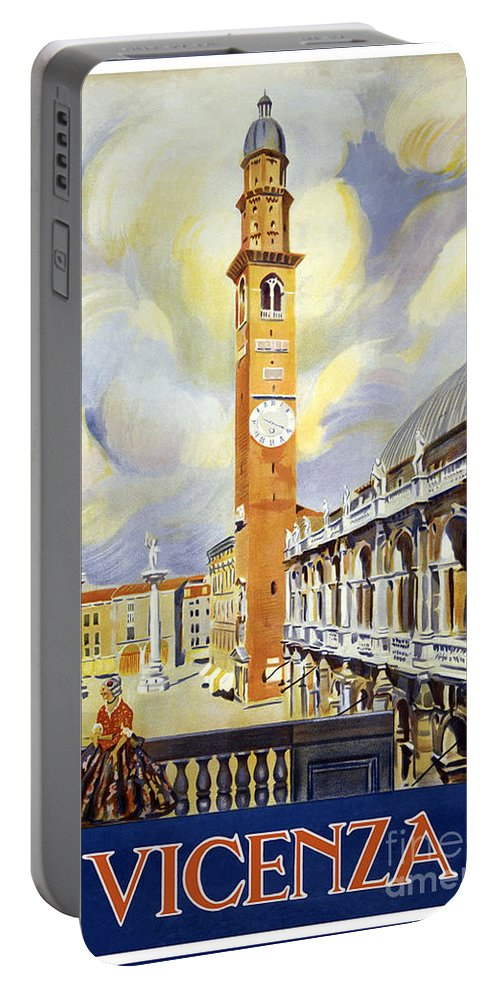 Vicenza Italy Travel Poster Portable Battery Charger featuring the painting Vicenza Italy Travel Poster by Dp