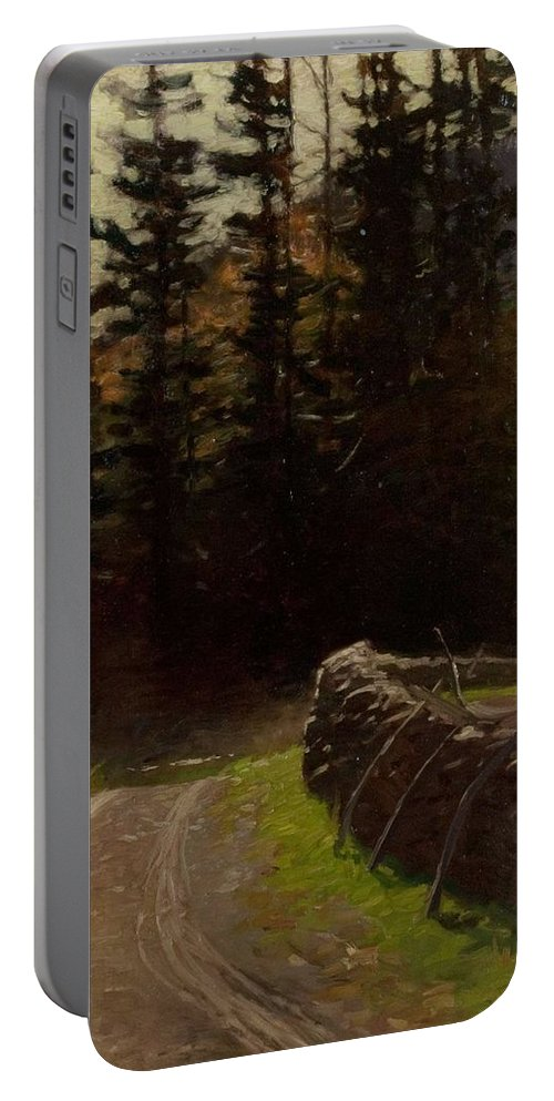 Nature Portable Battery Charger featuring the painting Victor Coleman Anderson 1882 1937 Road By The Woods by Artistic Panda