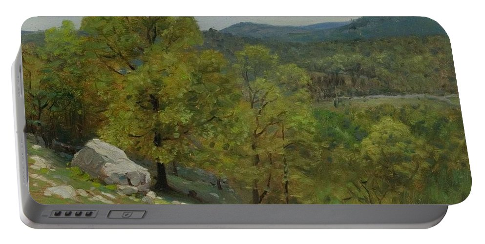 Nature Portable Battery Charger featuring the painting Victor Coleman Anderson 1882 1937 Rocky Uplands 1921 by Artistic Panda