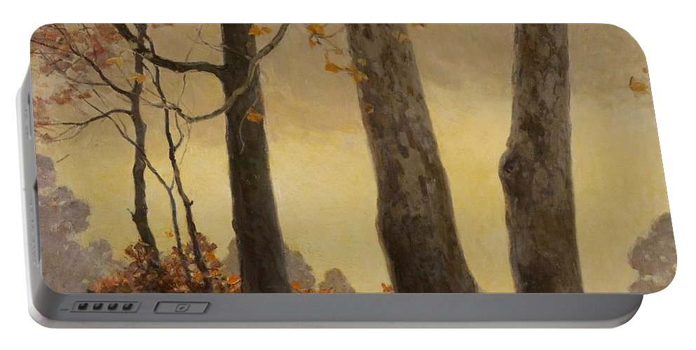Nature Portable Battery Charger featuring the painting Victor Coleman Anderson 1882 1937 Wet Leaves by Artistic Panda