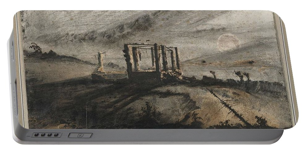 Nature Portable Battery Charger featuring the painting Victor Hugo  Gallows Of Montfaucon  1847 by Artistic Panda