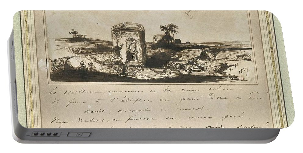 Art Portable Battery Charger featuring the painting Victor Hugo  Landscape  1837 by Artistic Panda