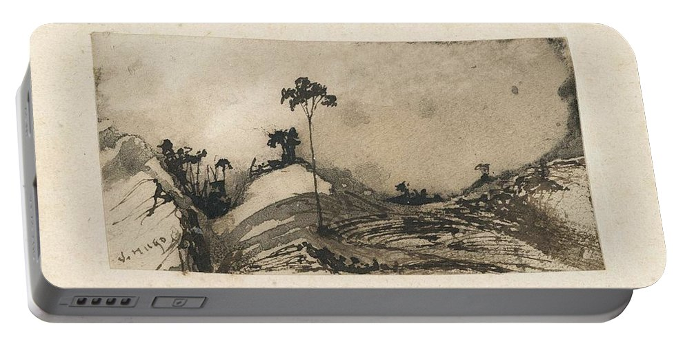 Art Portable Battery Charger featuring the painting Victor Hugo  Landscape by Artistic Panda