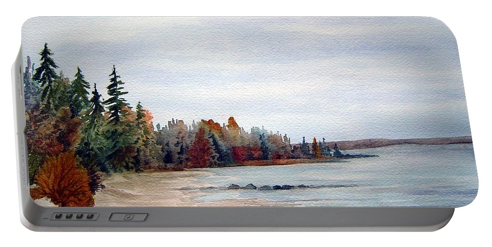 Victoria Beach Manitoba Shoreline Portable Battery Charger featuring the painting Victoria Beach In Manitoba by Joanne Smoley