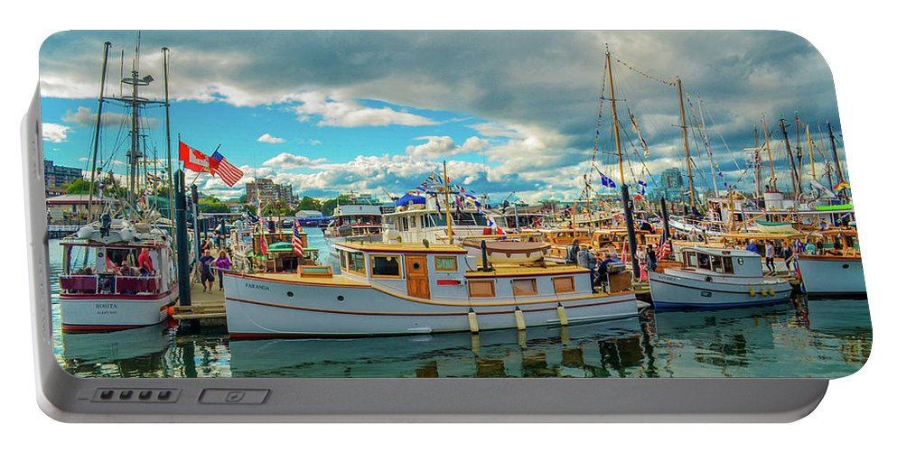 Boats Portable Battery Charger featuring the photograph Victoria Harbor old boats by Jason Brooks