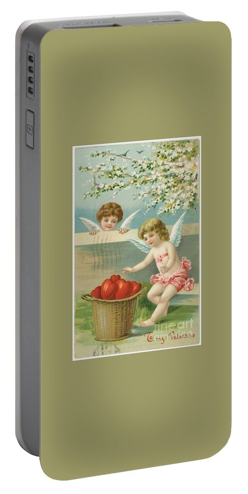 Victorian Era Valentine Card Portable Battery Charger featuring the photograph Victorian Era Valentine Card by Pd