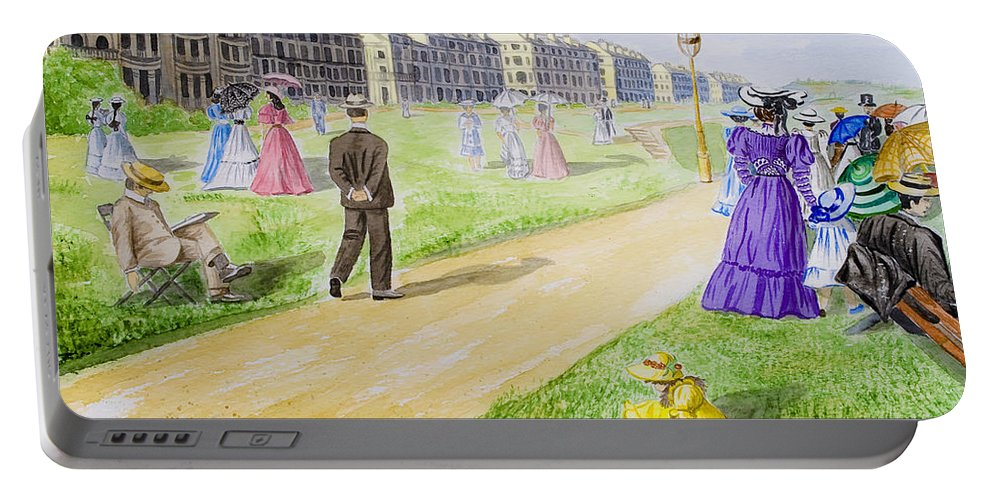 City; Medieval; Old; Street; Town; Traditional; Trees; Watercolor; Watercolour; People; Grass; Villa Portable Battery Charger featuring the painting Victorian Filey by Svetlana Sewell