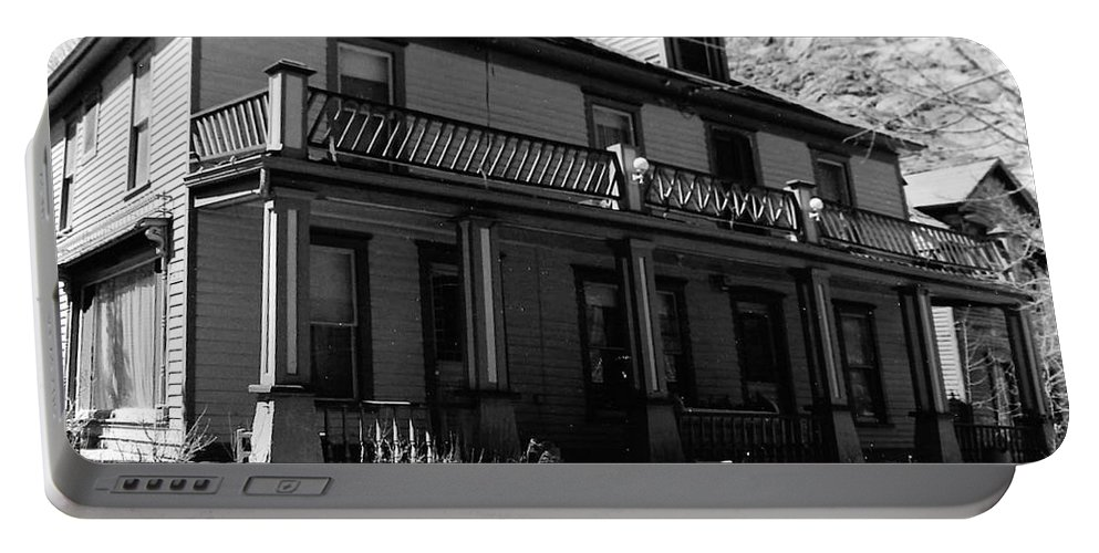 B&w Portable Battery Charger featuring the photograph Victorian House by Katherine W Morse