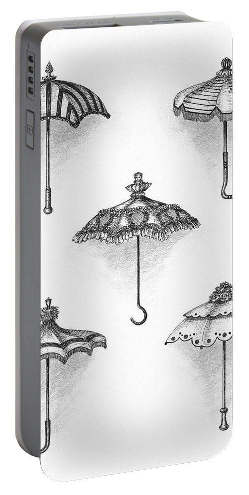 Black Portable Battery Charger featuring the drawing Victorian Parasols by Adam Zebediah Joseph