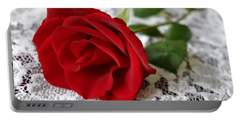 Red Rose Portable Battery Charger featuring the photograph Victorian Rose by Kristin Elmquist