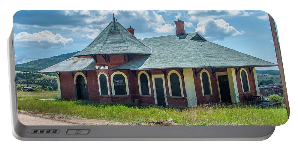 Train Station Portable Battery Charger featuring the photograph Midland Terminal Depot by Tony Baca