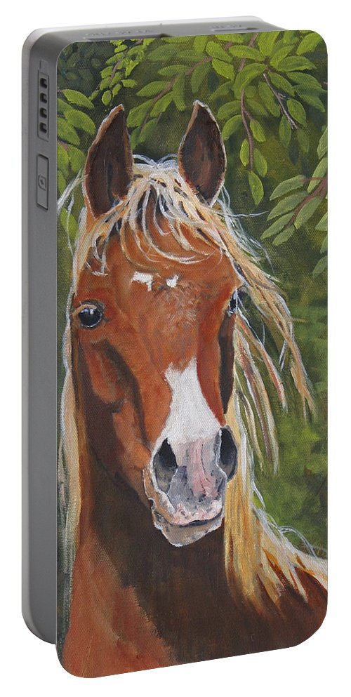 Horse Portable Battery Charger featuring the painting Victory by Heather Coen