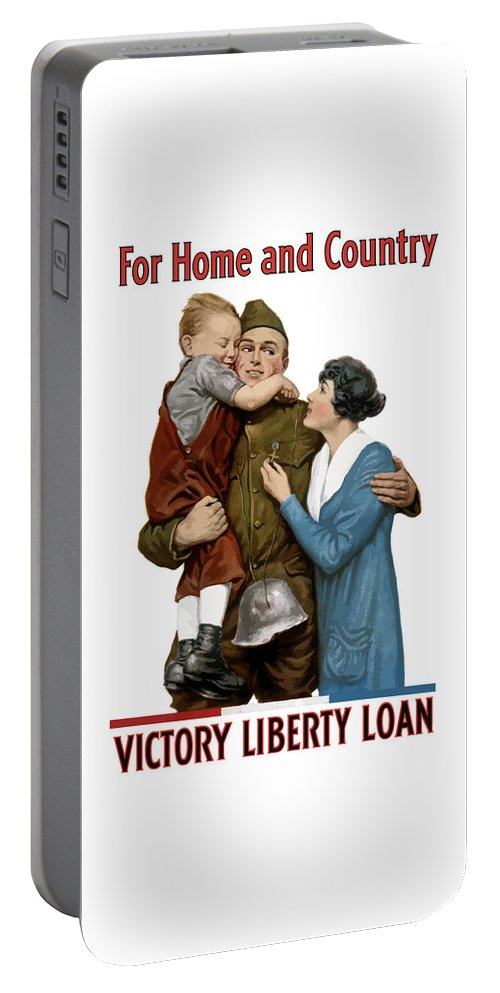World War One Portable Battery Charger featuring the painting Victory Liberty Loan - World War One by War Is Hell Store