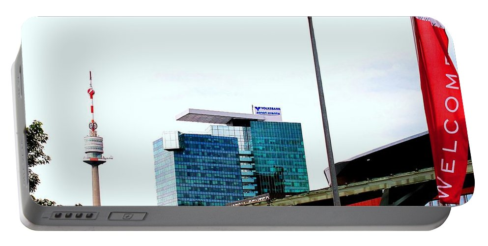 Vienna Portable Battery Charger featuring the photograph Vienna Volksbank by Ian MacDonald