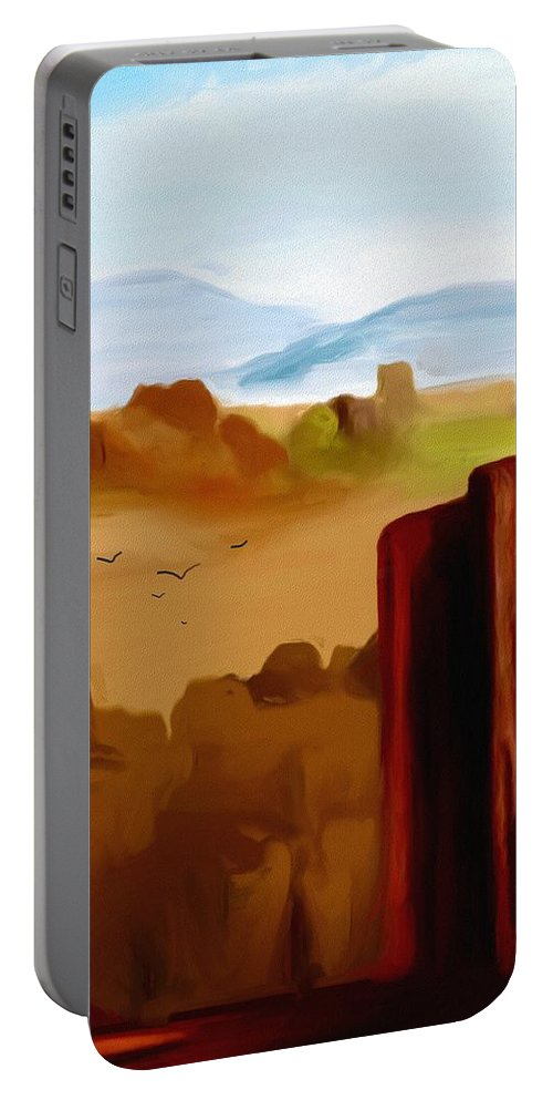 Digital Painting Portable Battery Charger featuring the digital art View From A Butte by David Lane