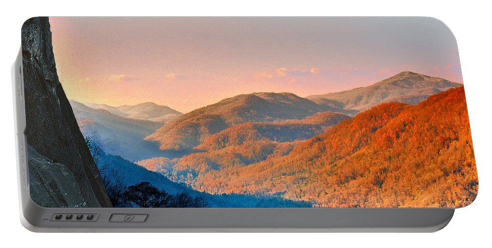 Landscape Portable Battery Charger featuring the mixed media View from Chimney Rock-North Carolina by Steve Karol