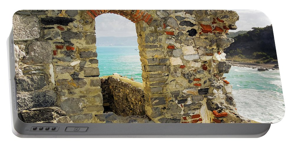 Church Portable Battery Charger featuring the photograph View From Doria Castle In Portovenere Italy by Kenneth Lempert