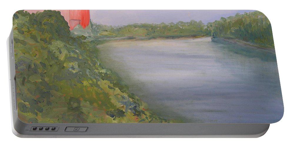 Landscape River Water Nature Portable Battery Charger featuring the painting View From Edmund Pettus Bridge by Patricia Caldwell