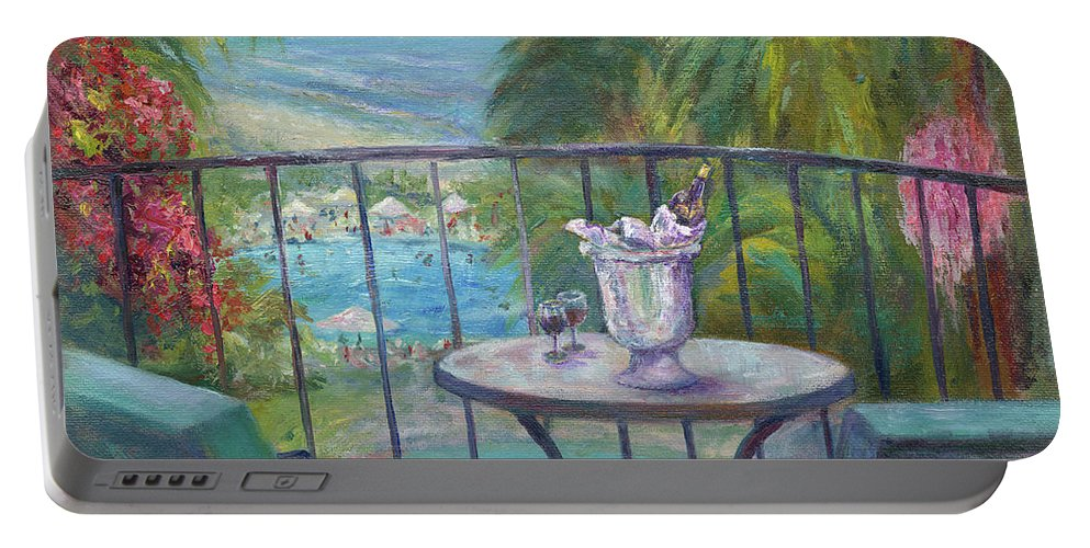Landscape Portable Battery Charger featuring the painting View From The Balcony by Carolyn Paterson