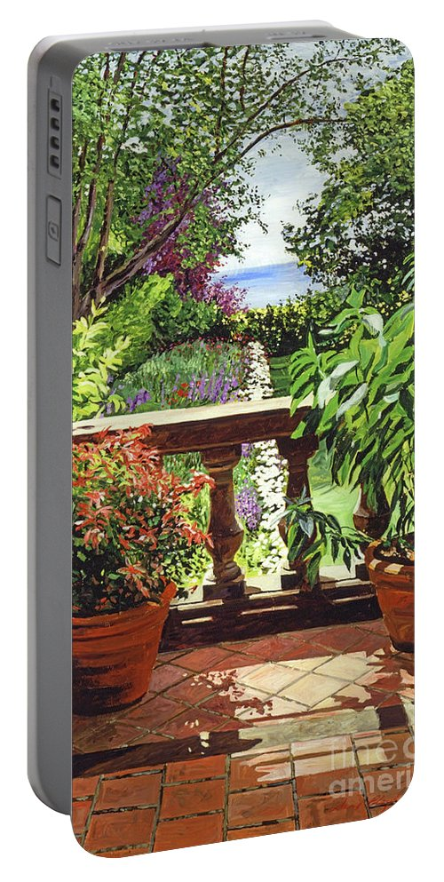 Gardens Portable Battery Charger featuring the painting View From The Royal Garden by David Lloyd Glover