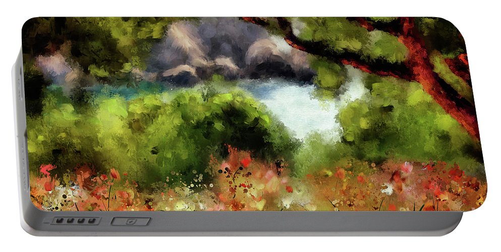 Corfu Portable Battery Charger featuring the digital art View From The Terrace - Paleokastritsa by Lois Bryan