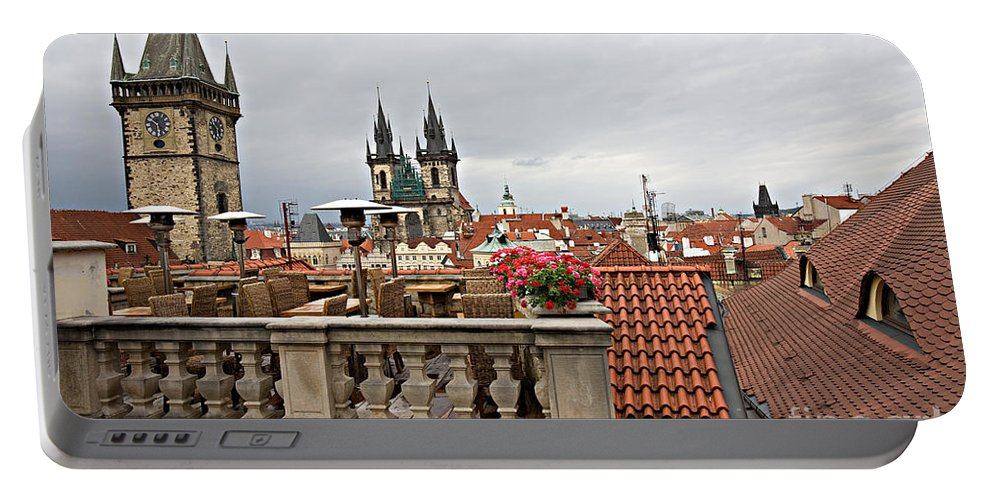 Prague Portable Battery Charger featuring the photograph View From The Top In Prague by Madeline Ellis