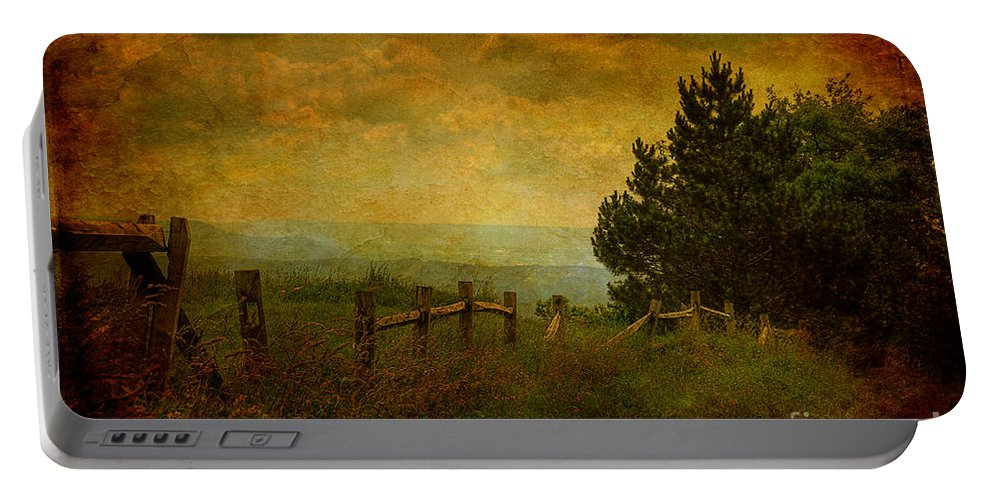Fence Portable Battery Charger featuring the photograph View From The Top by Lois Bryan
