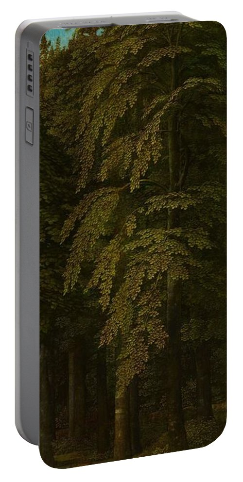 Nature Portable Battery Charger featuring the painting View In A Forest Outer Right Wing Of A Triptych Gerard David C 1505  C 1515 by Artistic Panda