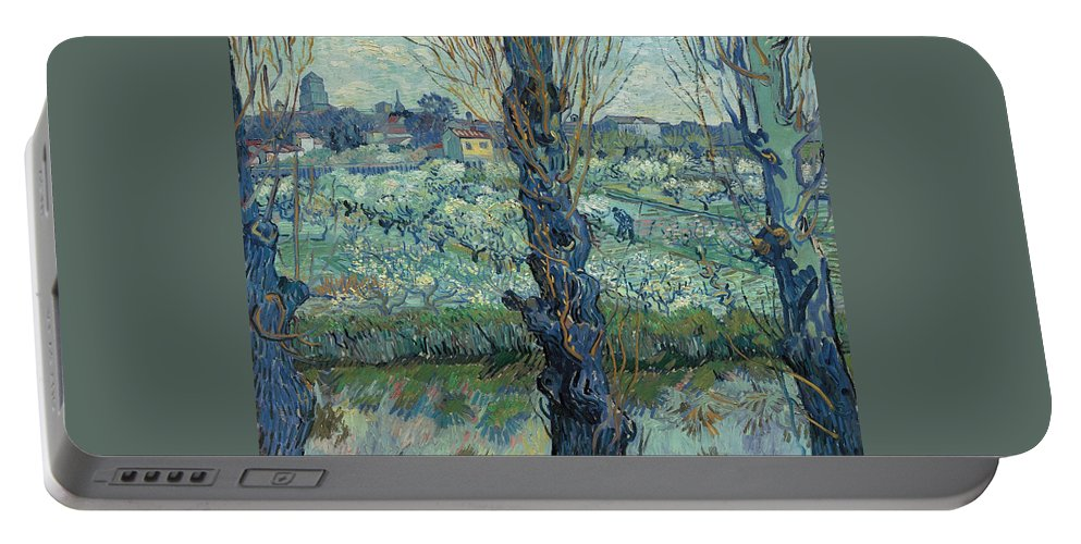 Cityscape Portable Battery Charger featuring the painting View Of Arles, Flowering Orchards by Vincent van Gogh