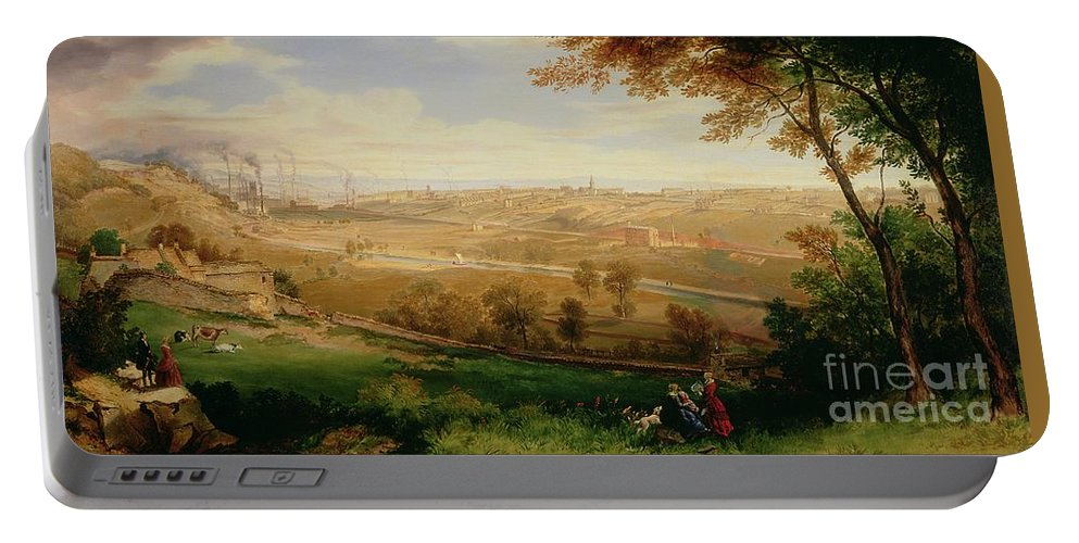 View Portable Battery Charger featuring the painting View Of Bradford by William Cowen