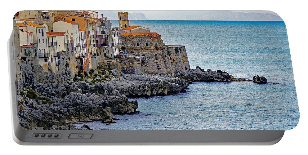 Palermo Portable Battery Charger featuring the photograph View Of Cefalu Sicily by Richard Rosenshein