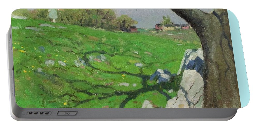 Nature Portable Battery Charger featuring the painting View Of Dresden, Germany In The 19th Century. From Pictures From The German Fatherland Published C.1 by Artistic Panda