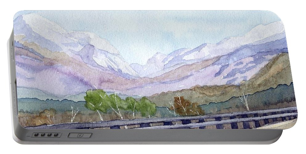 Franconia Notch Portable Battery Charger featuring the painting View Of Franconia Notch by Sharon E Allen