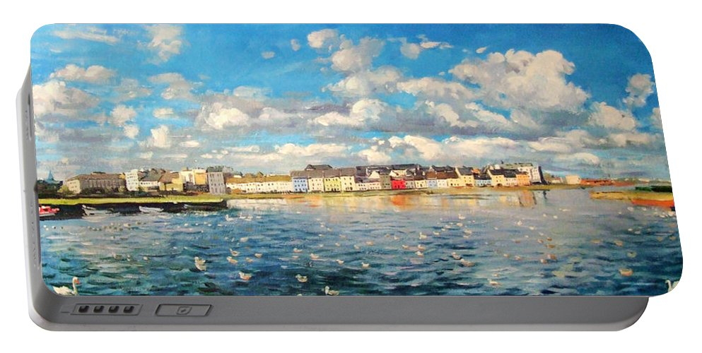 Galway Harbour Portable Battery Charger featuring the painting View Of Galway Harbour by Conor McGuire