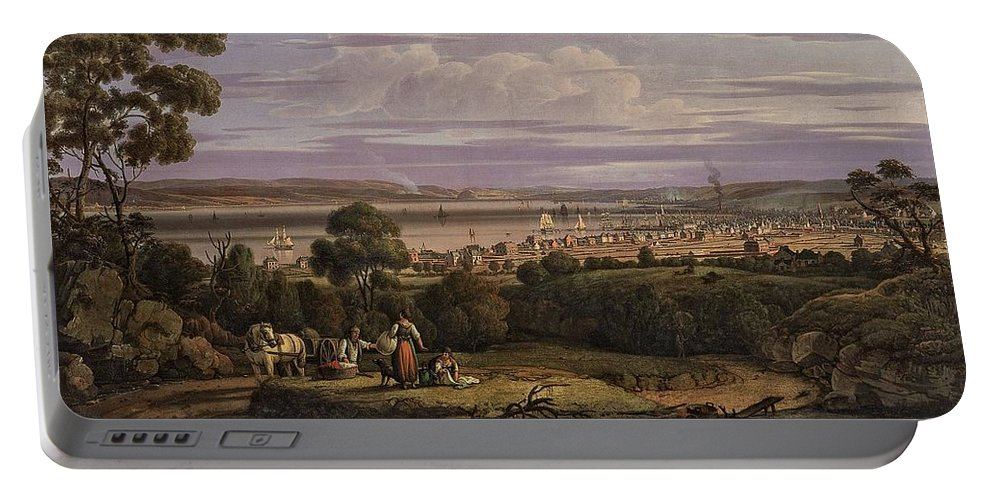 Nature Portable Battery Charger featuring the painting View Of Greenock Scotland 1816 By Robert Salmon by Artistic Panda
