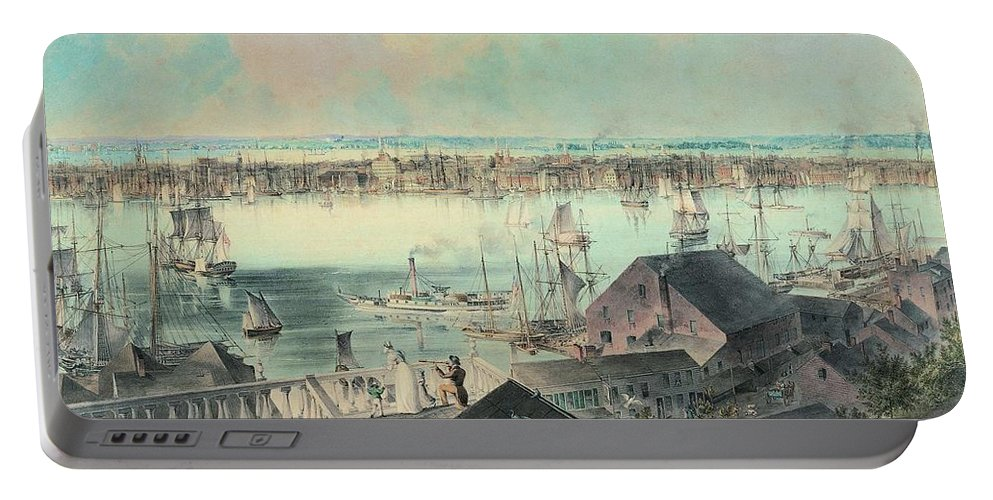 Art Portable Battery Charger featuring the painting View Of New York From Brooklyn Heights Ca. 1836, John William Hill by Artistic Panda