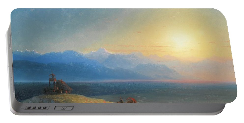 Ivan Konstantinovich Aivazovsky 1817-1900 View Of The Caucasus With Mount Kazbek In The Distance Portable Battery Charger featuring the painting View Of The Caucasus With Mount Kazbek In The Distance by MotionAge Designs